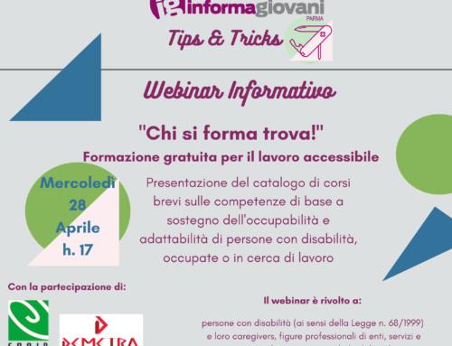 """""""Chi si forma trova"""": Formazione gratuita per il lavoro accessibile – Webinar Informagiovani 28 aprile ore 17"""